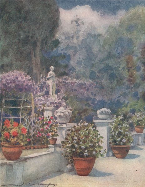 Associate Product 'Mrs. Eden's Garden in Venice' by Mortimer Menpes. Venice 1916 old print
