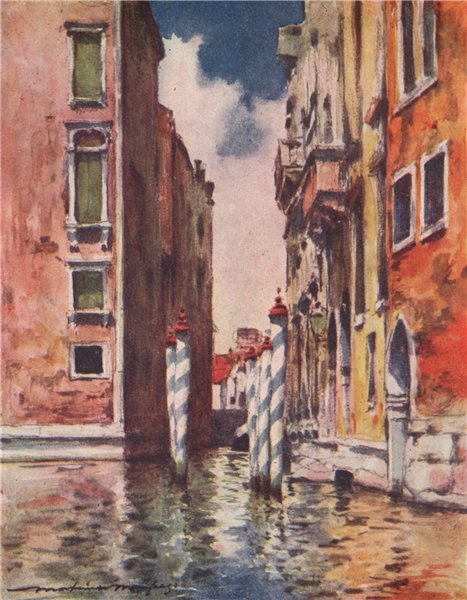 Associate Product VENEZIA. 'A narrow canal' by Mortimer Menpes. Venice 1916 old antique print