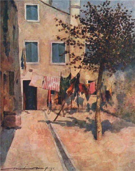 Associate Product VENEZIA. 'A Campiello' by Mortimer Menpes. Venice 1916 old antique print