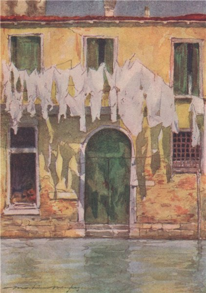 Associate Product VENEZIA. 'An unfrequented canal' by Mortimer Menpes. Venice 1916 old print