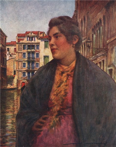 Associate Product VENEZIA. 'A woman of the people' by Mortimer Menpes. Venice 1916 old print