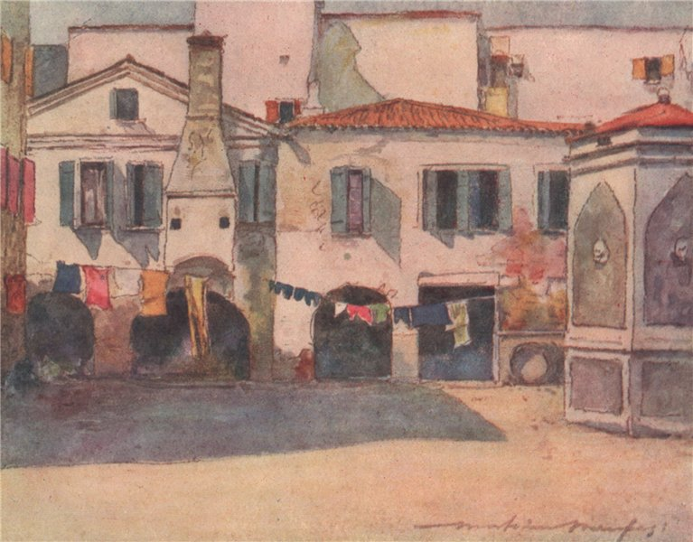 Associate Product VENEZIA. 'Humble quarters' by Mortimer Menpes. Venice 1916 old antique print