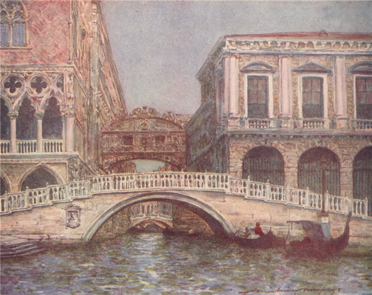 Associate Product 'The Bridge of Sighs and Straw Bridge' by Mortimer Menpes. Venice 1916 print