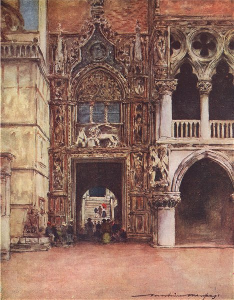 Associate Product VENEZIA. 'Porta Della Carta' by Mortimer Menpes. Venice 1916 old antique print