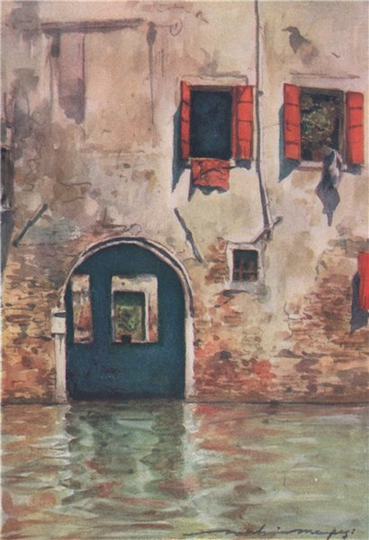 Associate Product VENEZIA. 'The house with the blue door' by Mortimer Menpes. Venice 1916 print