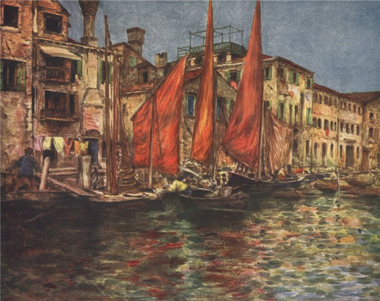Associate Product VENEZIA. 'The fish market' by Mortimer Menpes. Venice 1916 old antique print