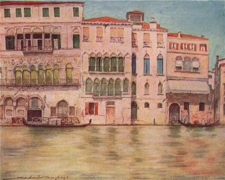 Associate Product VENEZIA. 'Palazzi on the Canal' by Mortimer Menpes. Venice 1916 old print