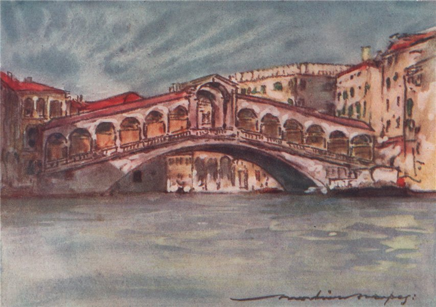 Associate Product VENEZIA. 'The Rialto' by Mortimer Menpes. Venice 1916 old antique print