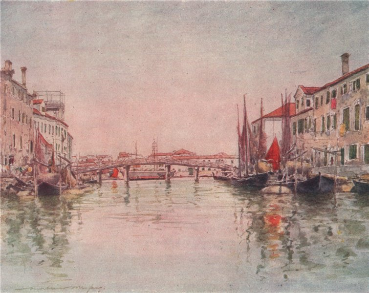 Associate Product VENEZIA. 'Canal in Giudecca Island' by Mortimer Menpes. Venice 1916 old print