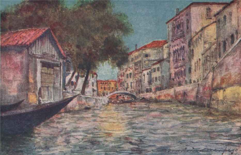Associate Product 'A Squero or boat-building yard' by Mortimer Menpes. Venice 1916 old print