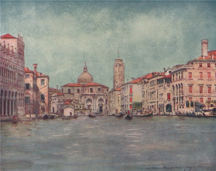 Associate Product 'Grand Canal, showing Tower of San Geremia' by Mortimer Menpes. Venice 1916