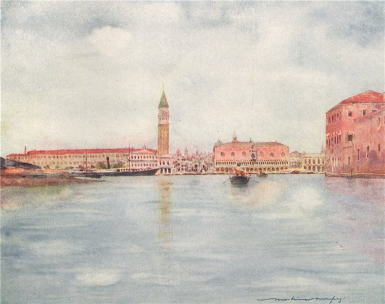 VENEZIA. 'St. Mark's Basin' by Mortimer Menpes. Venice 1916 old antique print