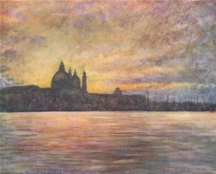 Associate Product VENEZIA. 'The salute at sunset' by Mortimer Menpes. Venice 1916 old print