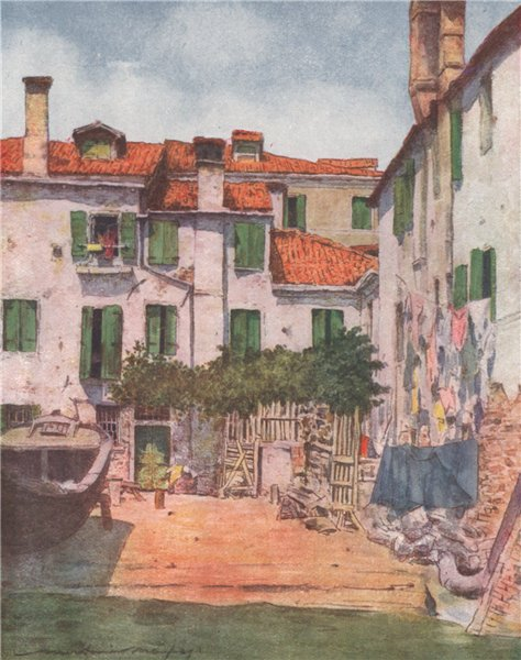 Associate Product 'A squero of boat-building yard' by Mortimer Menpes. Venice 1916 old print