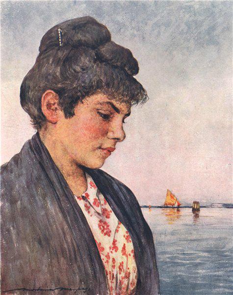 Associate Product VENEZIA. 'Francesca' by Mortimer Menpes. Venice 1916 old antique print picture