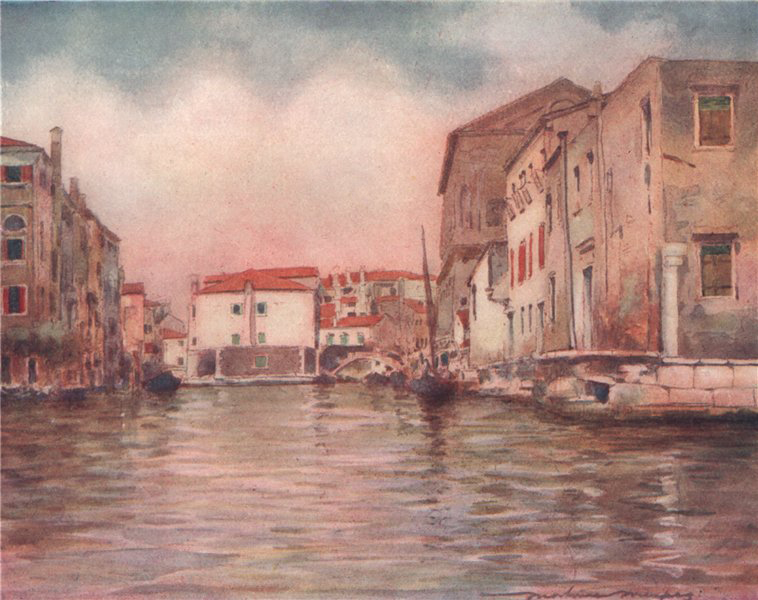 Associate Product 'At Chioggia' by Mortimer Menpes. Venice 1916 old antique print picture