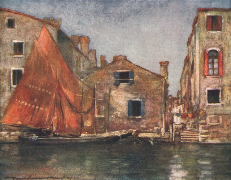 Associate Product 'The Orange Sail' by Mortimer Menpes. Venice 1916 old antique print picture