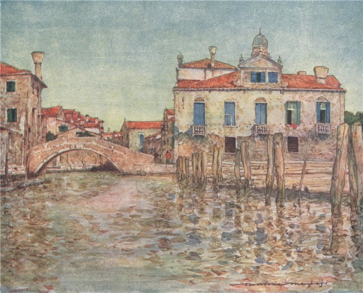 Associate Product 'By a Squero or boat-building yard' by Mortimer Menpes. Venice 1916 old print