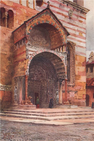 VERONA. 'The porch of the Cathedral' by William Wiehe Collins. Italy 1911