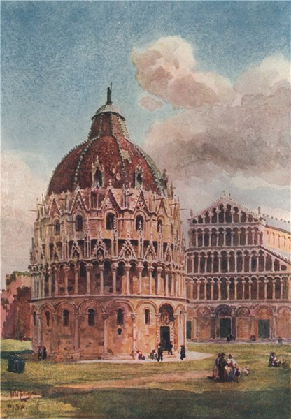Associate Product 'The Baptistery, Pisa' by William Wiehe Collins. Italy 1911 old antique print
