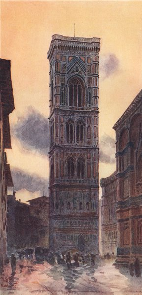 Associate Product FIRENZE. 'The Campanile, Florence' by William Wiehe Collins. Italy 1911 print