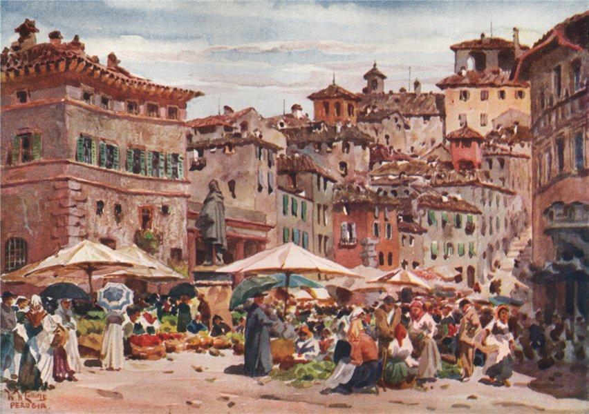 Associate Product PERUGIA. 'The Piazza Garibaldi, Perugia' by William Wiehe Collins. Italy 1911