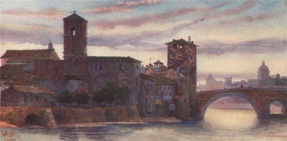 Associate Product ROMA. 'The Isle of San Bartolomeo, Rome' by William Wiehe Collins. Rome 1911