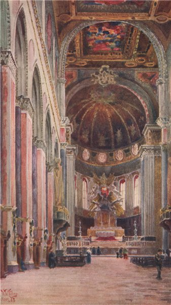 Associate Product NAPOLI. 'Interior of the Cathedral, Naples' by William Wiehe Collins 1911
