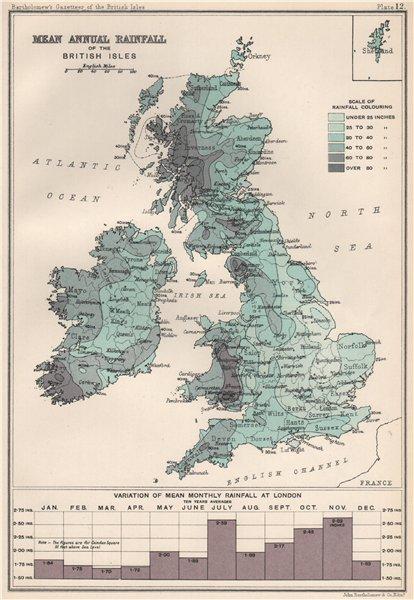 Associate Product BRITISH ISLES RAINFALL. Mean annual precipitation. BARTHOLOMEW 1904 old map