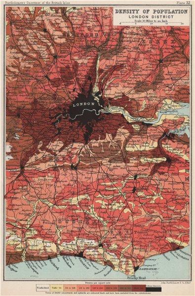 Associate Product LONDON. Density of population. BARTHOLOMEW 1904 old antique map plan chart