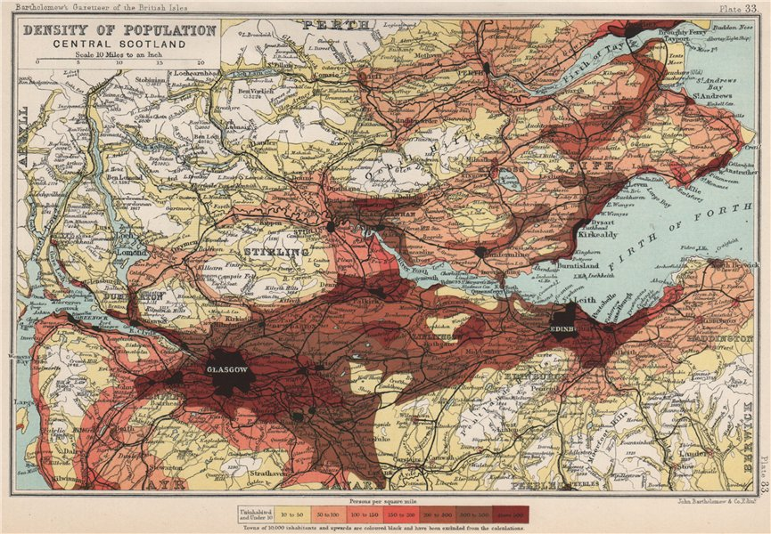 CENTRAL SCOTLAND. Density of population. BARTHOLOMEW 1904 old antique map