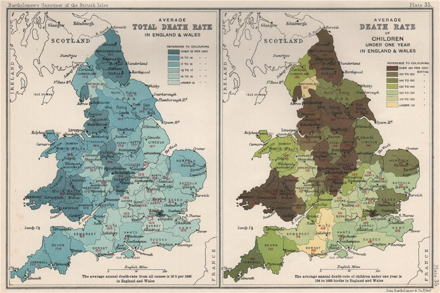 Associate Product ENGLAND & WALES DEATH RATE. Average total. Infants. BARTHOLOMEW 1904 old map