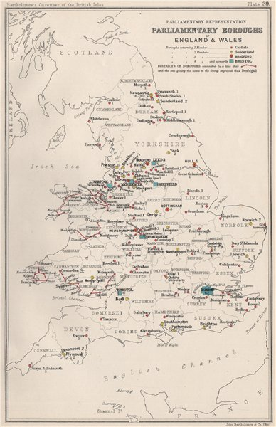Associate Product ENGLAND & WALES Parliamentary representation. Boroughs. Constituencies 1904 map
