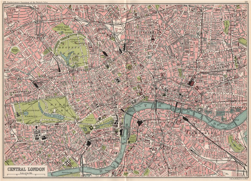 Centre London Map.Details About Central London Antique Town City Plan Bartholomew 1904 Old Map Chart