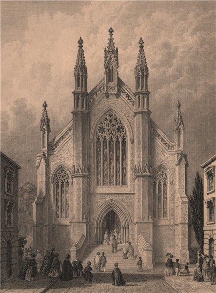 Associate Product SOUTHAMPTON. New Wesleyan Chapel. BRANNON 1853 old antique print picture