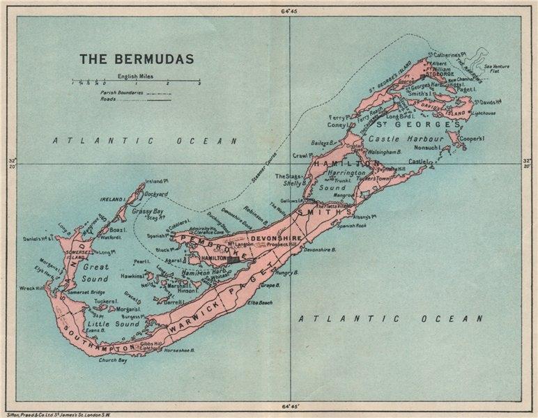 Associate Product THE BERMUDAS. Vintage map. Bermuda 1927 old vintage plan chart