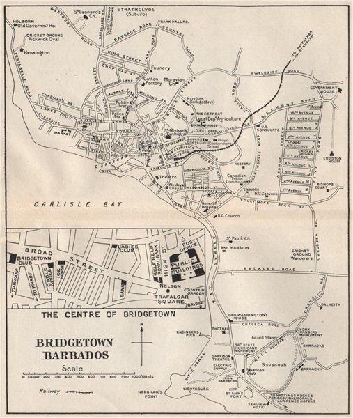 BRIDGETOWN. Vintage town map. Barbados. West Indies. Caribbean 1927 old