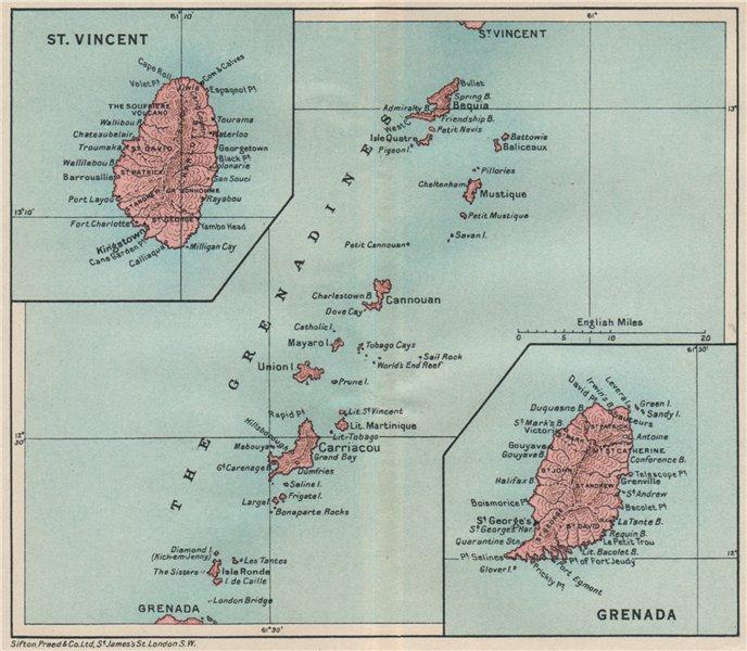 Associate Product ST VINCENT, GRENADA & THE GRENADINES. Lesser Antilles. West Indies 1927 map