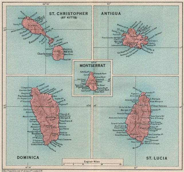 Associate Product WEST INDIES. Dominica St Kitts Antigua St Lucia Montserrat 1927 old map