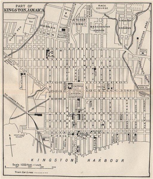 KINGSTON JAMAICA Vintage Town Plan West Indies Caribbean Old - Vintage map of jamaica
