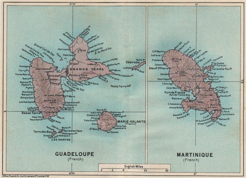Associate Product ANTILLES FRANÇAISES. Martinique Guadeloupe. French West Indies vintage map 1927