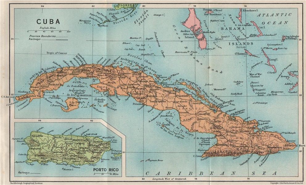 Associate Product CUBA. Vintage map. Inset Puerto Rico. West Indies. Caribbean 1927 old