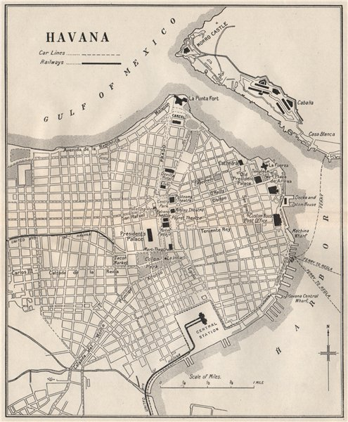 Associate Product HAVANA. Vintage town plan. Railways & streetcar lines. Cuba. Caribbean 1927 map