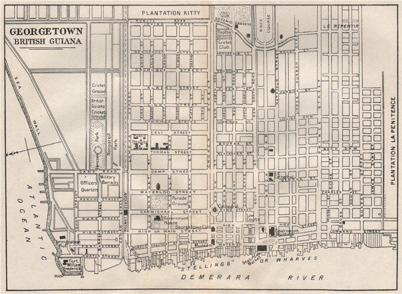 Associate Product GEORGETOWN. Vintage town map. British Guiana (Guyana) /Guyana. Caribbean 1927
