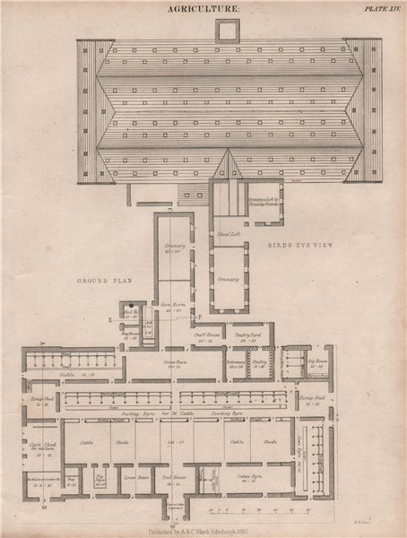 Associate Product Agriculture. Farm buildings plan. Stables barn shed granary. BRITANNICA 1860