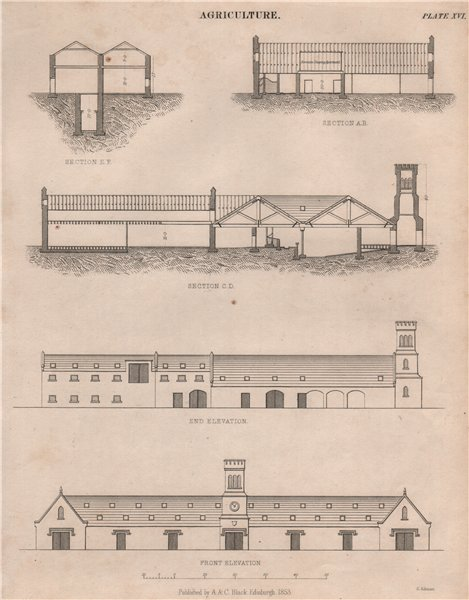 Agriculture. Farm buildings section. Stables barn shed granary. BRITANNICA 1860