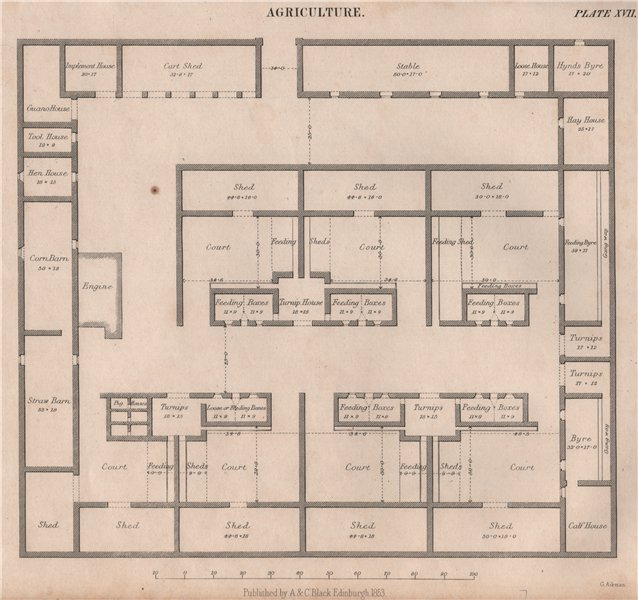 Associate Product Agriculture. Farm buildings plan. Court shed feeding boxes. BRITANNICA 1860