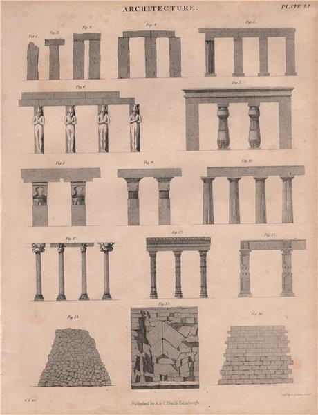 Associate Product Ancient architecture. Columns. BRITANNICA 1860 old antique print picture