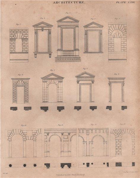Associate Product Architecture. Doorways windows. BRITANNICA 1860 old antique print picture