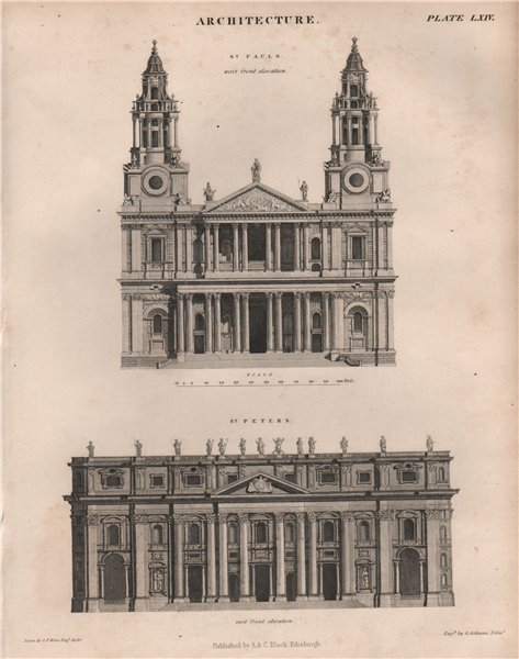 Associate Product St. Paul's Cathedral (west front elevation); St. Peters, Rome (east front) 1860